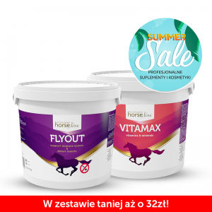 Witaminy i minerały HORSE LINE Vitamax 5000g +  Suplement na owady HORSE LINE Flyout 1500g